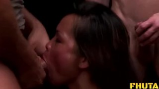 Fhuta - Hot Asian gets double teamed by large cocks.  jade sin tight pussy big tits dp kissing asian brunette 3some swallow threesome anal facial double team fake tits double penetration fhuta
