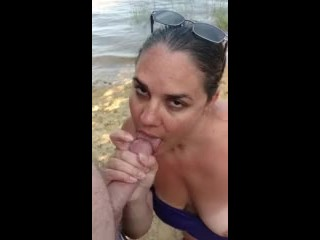 Amateur chick sucking cock on the riverbank- ORAL CREAMPIE!