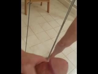 shaved n clean stroking my big hard dick.. teasing before cum shot tonight