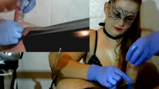 Femdom Cock Tease , Cock Massage - Latex Gloves, Chain, PVC, Brush  cock torture point of view plastic bag femdom milking denial slave bdsm redhead amateur cumshot pip cum gloves collar orgasm tied handjob milking