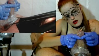 Femdom Cock Tease , Cock Massage - Latex Gloves, Chain, PVC, Brush  cock torture point of view femdom milking denial slave bdsm redhead amateur cumshot cum gloves collar orgasm plastic bag pip tied handjob milking