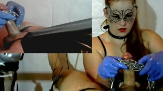 Femdom Cock Tease , Cock Massage - Latex Gloves, Chain, PVC, Brush  cock torture point of view tied handjob milking femdom milking denial slave bdsm redhead amateur cumshot pip cum gloves collar orgasm plastic bag