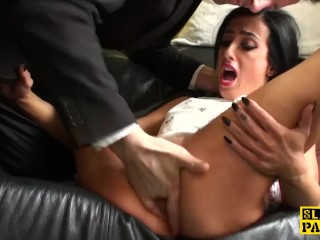 Choked british skank playing with sextoy