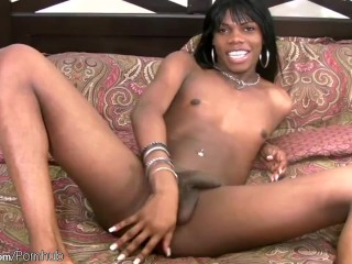 Black hair ebony TS beauty spreads tight asshole and jerks