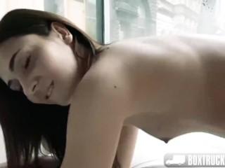 Box Truck Sex - Hot College girl fucks a stranger for cash in the magic box