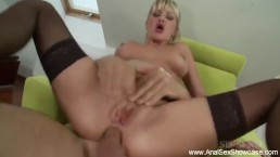 Busty blonde Stockholm milf escort gives sensual GFE and anal PSE with titfuck and deepthroat OWO