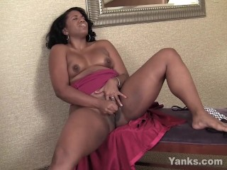 ebony from yanks sydnee capri plays with her lipstick vibrator