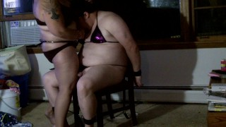 Bound Feminized sissy in bikini sucks strapon & drinks cum from shot glass  sissy humiliation femdom humiliation femdom feminization cum shot glass femdom handjob bbw femdom femdom strapon cum swallow bdsm bbw sissy femdom sissy sissy bikini bbw femdom strap on sissy swimsuit sissy feminization