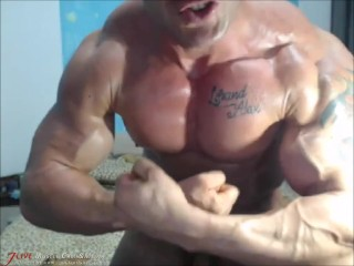 Live Muscle Show with a Flexing Muscle Pup from JockMenLive