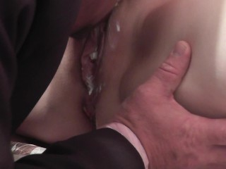 Whipped cream. Secretary instead dinner for boss. Cunnilingus cream pussy