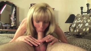 53 year old Mature Blonde Takes a Young Man's Virginity!