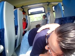 : Extreme in Train : Public Blowjob and cum in mouth