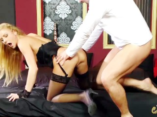 sexy blonde takes on huge dick in her ass and gets mouth full of cum