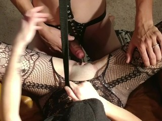 mistress makes slave fuck her hard and clean his own cum off her pussy