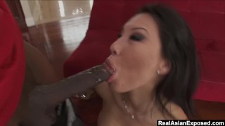RealAsianExposed - Hot Babe Asa Akira goes to work on a big black cock. analized bbc gaping big black cock asa akira mouth fuck blowjob shaved pussy gagging gag spread deepthroat tattoo japanese realasianexposed interracial ass fuck rico strong skinny