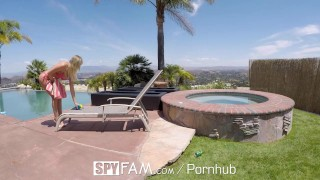 SpyFam Step sister Alexis Adams caught step brother spying by the pool