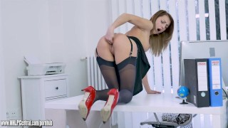 Office slut teases upskirt in nylon and suspenders then panties off to wank