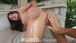 LUBED Stunning Adria Rae oiled up pussy licked and fucked outdoors
