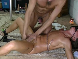 Bitchin' Bondage Slap Capture Bound spouse gets dildo fucked and fingered to squirt