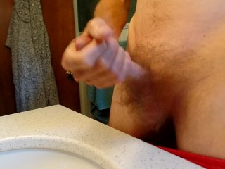 Jerking off with cum while testing out new camera.