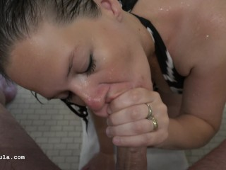 Wet Hair - Hot MILF - Shower BlowJob - Azzurra - 4K