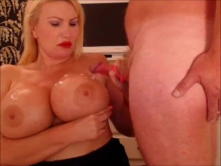 Massive tit milf takes the cum on her 34JJ tits