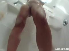 Asa Akira records herself taking a shower