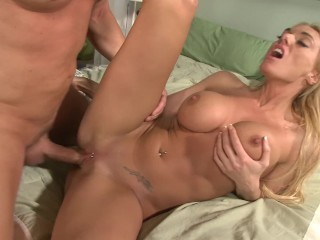 blonde milf with huge tits invites horny young guy to fuck