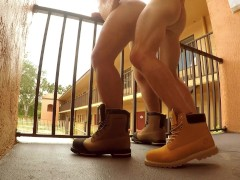 TwoLongHorns Motel Stairwell Fuck Risky Public Bareback Construction Boots