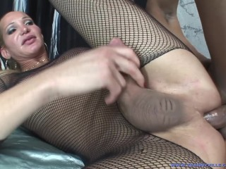 shemale sara sucks cock and gets ass fucked!