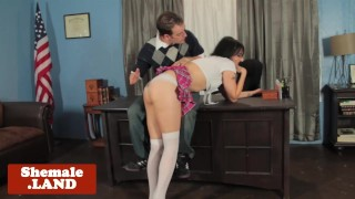 Schoolgirl tranp doggystyled over the desk