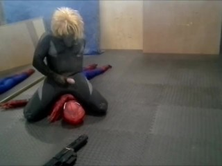 surfer frogman humps and cums on spiderman dummy