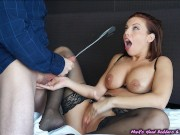 Escort gets plowed, client empties his nuts on her face...and the wall