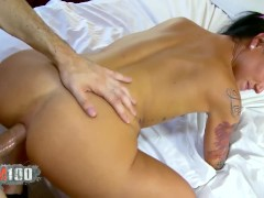 Hot french brunette babe Joyce Excess deep ass and pussy fucking