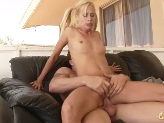 milf takes on big dick, fucked hard outside and creampied