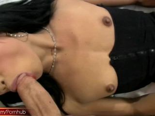 tiny cock ladyboy stuffs her mouth with shaft and toys anal