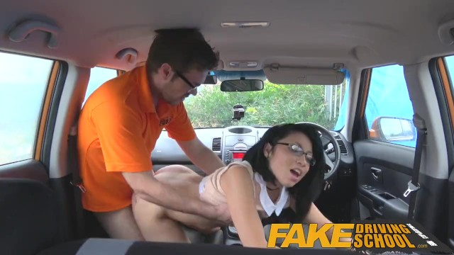 Image Fake Driving School wild ride for petite british Asian with glasses