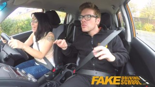 Fake Driving School wild ride for petite british Asian with glasses  sex in car doggy style british porn big cock glasses small asian blowjob petite cum shot instructor oral sex fds fakedrivingschool humour funny driving school car sex