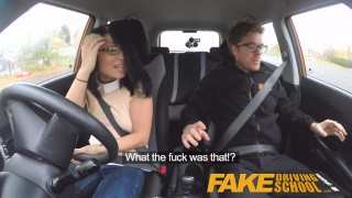 Fake Driving School wild ride for petite british Asian with glasses  car sex doggy style sex in car driving school big cock glasses instructor funny small asian blowjob fds fakedrivingschool petite humour cum shot oral sex british porn