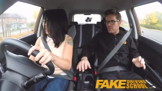 Fake Driving School wild ride for petite british Asian with glasses small big cock oral sex driving school asian blowjob british porn sex in car glasses fds instructor fakedrivingschool humour doggy style cum shot funny petite car sex