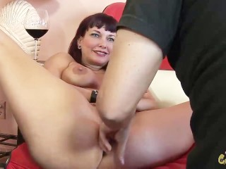 hot brunette takes on big dick and gets mouth full of cum