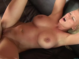 blonde wife with huge tits gets fucked by angry husband