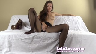 Pantyhose FemDom humiliates you and tells you what to do and say  high heels homemade hd humiliation chastity foot femdom amateur solo instruction fetish domination pantyhose brunette feet natural tits lelu love