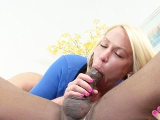 big tits blonde cougar rides a big black cock