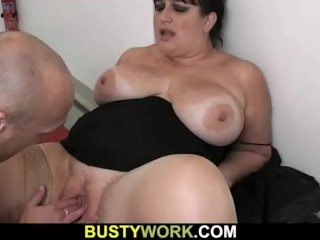 Fatty in pantyhoses rides his big meat
