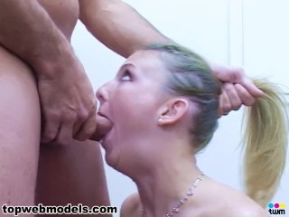 heather zatch huge cock deepthroat face fuck blowjob and facial! must see!
