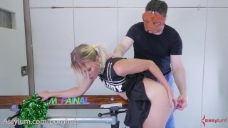 Ass to mouth punishment for blond cheerleader in braces