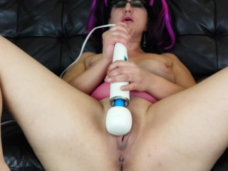 Three vibrator meaty pussy toy masturbation