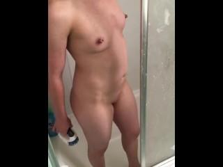 Nude maid made to scrub bathtub clean