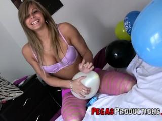 busty slut riding & humping baloons